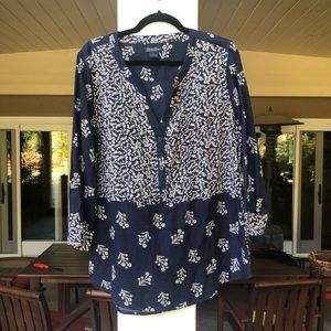 Navy Blue and White Floral Blouse